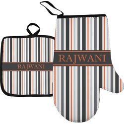 Gray Stripes Oven Mitt & Pot Holder (Personalized)