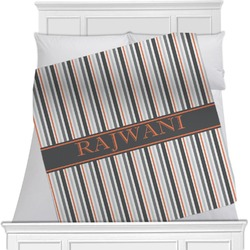 """Gray Stripes Fleece Blanket - Queen / King - 90""""x90"""" - Double Sided (Personalized)"""
