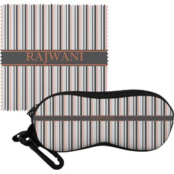 Gray Stripes Eyeglass Case & Cloth (Personalized)