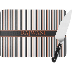Gray Stripes Rectangular Glass Cutting Board (Personalized)