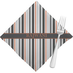 Gray Stripes Cloth Napkins (Set of 4) (Personalized)