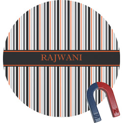 Gray Stripes Round Magnet (Personalized)