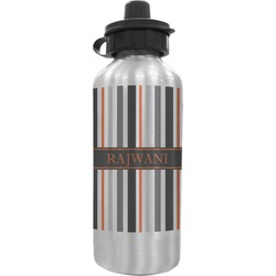 Gray Stripes Water Bottle (Personalized)
