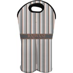 Gray Stripes Wine Tote Bag (2 Bottles) (Personalized)