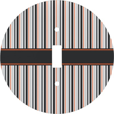 Gray Stripes Round Light Switch Cover (Personalized)
