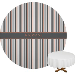 Gray Stripes Round Tablecloth (Personalized)
