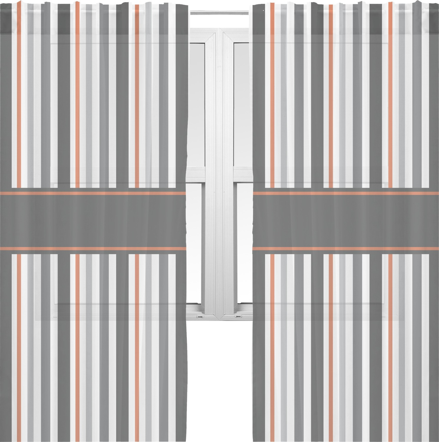 Gray Stripes Window Sheer Scarf Valance Personalized
