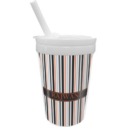 Gray Stripes Sippy Cup with Straw (Personalized)
