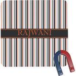 Gray Stripes Square Fridge Magnet (Personalized)
