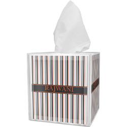Gray Stripes Tissue Box Cover (Personalized)