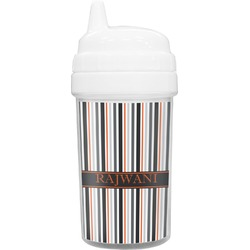 Gray Stripes Toddler Sippy Cup (Personalized)