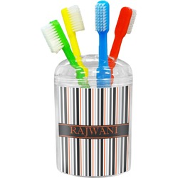 Gray Stripes Toothbrush Holder (Personalized)