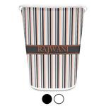 Gray Stripes Waste Basket (Personalized)