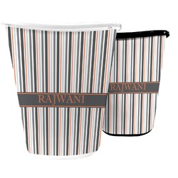 Gray Stripes Waste Basket (Personalized)