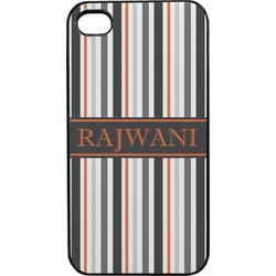 Gray Stripes Plastic 4/4S iPhone Case (Personalized)