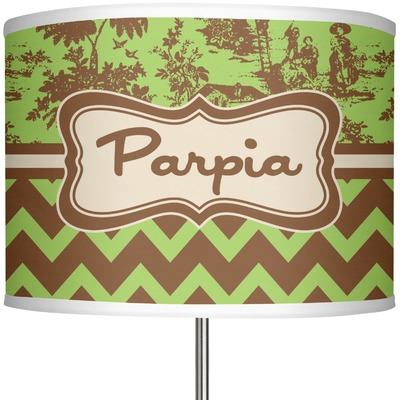 green brown toile chevron 13 drum lamp shade. Black Bedroom Furniture Sets. Home Design Ideas