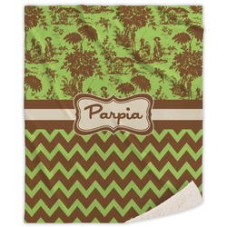 Green & Brown Toile & Chevron Sherpa Throw Blanket (Personalized)