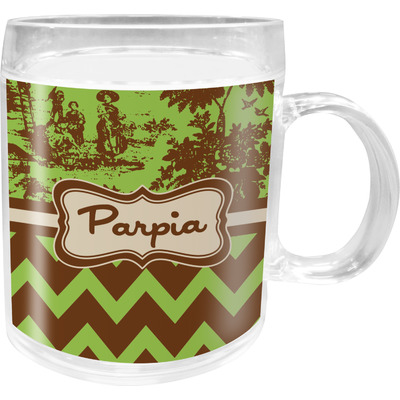 Green & Brown Toile & Chevron Acrylic Kids Mug (Personalized)