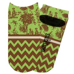 Green & Brown Toile & Chevron Adult Ankle Socks (Personalized)