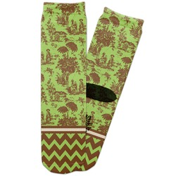 Green & Brown Toile & Chevron Adult Crew Socks (Personalized)