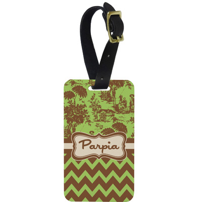 Green & Brown Toile & Chevron Metal Luggage Tag w/ Name or Text