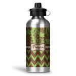 Green & Brown Toile & Chevron Water Bottle - Aluminum - 20 oz (Personalized)