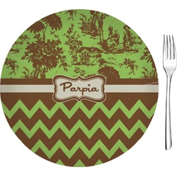 "Green & Brown Toile & Chevron 8"" Glass Appetizer / Dessert Plates - Single or Set (Personalized)"