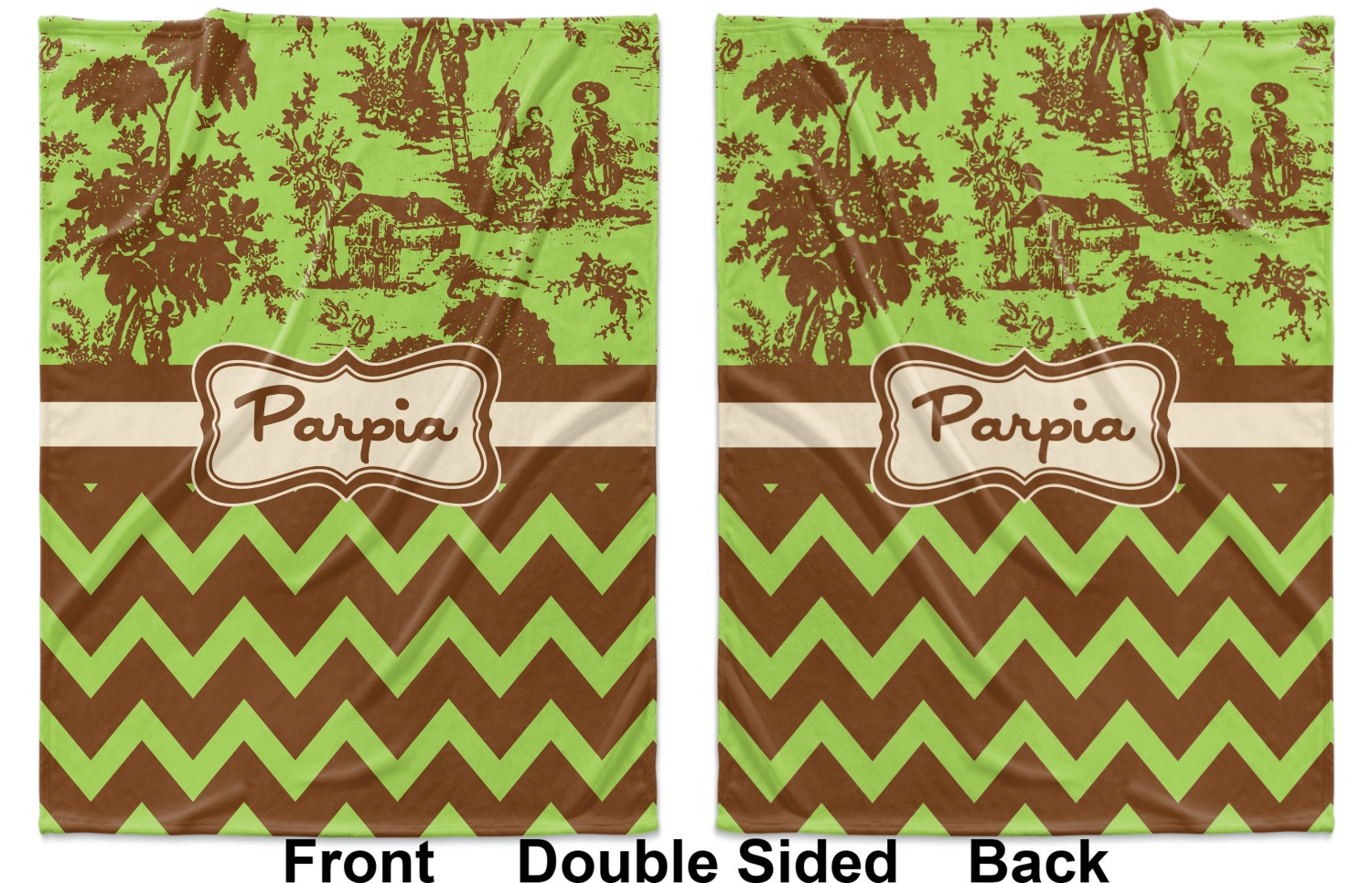 4091485b899a ... White Green & Brown Toile & Chevron Baby Blanket (Double Sided -  Printed Front and ...