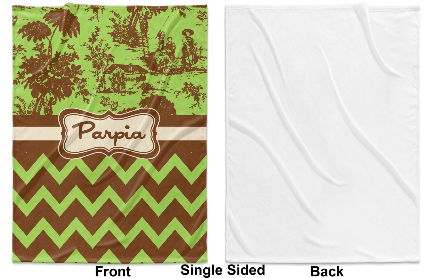 0e24fcff090f ... Green & Brown Toile & Chevron Baby Blanket (Single Side - Printed  Front, ...