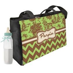Green & Brown Toile & Chevron Diaper Bag (Personalized)