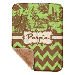 """Green & Brown Toile & Chevron Sherpa Baby Blanket 30"""" x 40"""" (Personalized)"""