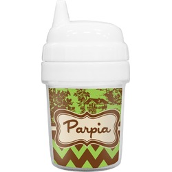 Green & Brown Toile & Chevron Baby Sippy Cup (Personalized)