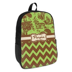 Green & Brown Toile & Chevron Kids Backpack (Personalized)