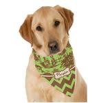 Green & Brown Toile & Chevron Dog Bandana Scarf w/ Name or Text