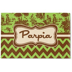 Green & Brown Toile & Chevron Woven Mat (Personalized)