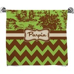 Green & Brown Toile & Chevron Full Print Bath Towel (Personalized)