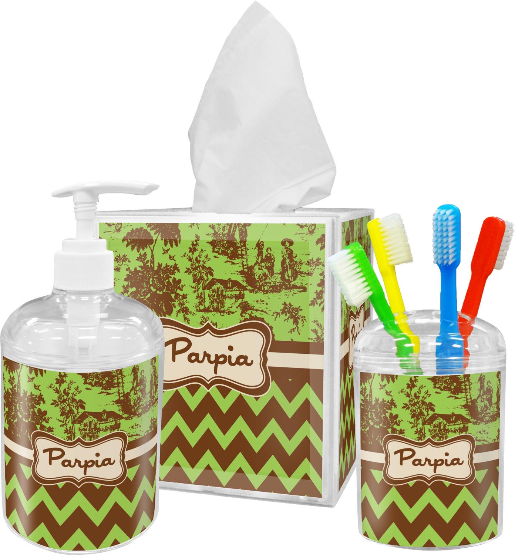 Green & Brown Toile & Chevron Bathroom Accessories Set (Personalized)