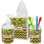 Green & Brown Toile & Chevron Bathroom Accessories Set (Personalized)