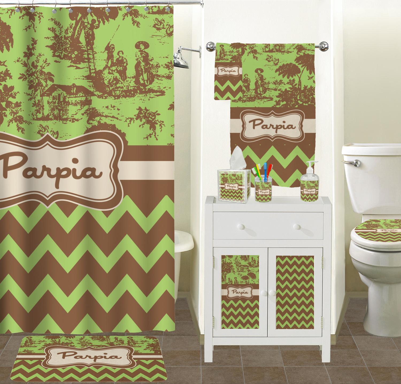 Green brown toile chevron bathroom accessories set for Green and brown bathroom accessories