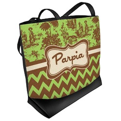 Green & Brown Toile & Chevron Beach Tote Bag (Personalized)
