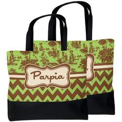 Green & Brown Toile & Chevron Beach Tote Bag (Personalized)