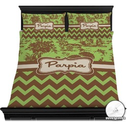 Green & Brown Toile & Chevron Duvet Cover Set (Personalized)