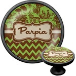 Green & Brown Toile & Chevron Cabinet Knob (Black) (Personalized)