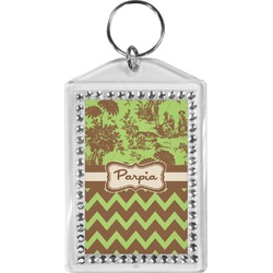 Green & Brown Toile & Chevron Bling Keychain (Personalized)