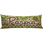 Green & Brown Toile & Chevron Body Pillow Case (Personalized)