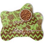 Green & Brown Toile & Chevron Bone Shaped Dog Food Mat (Personalized)