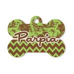 Green & Brown Toile & Chevron Bone Shaped Dog Tag (Personalized)