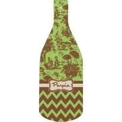 Green & Brown Toile & Chevron Bottle Shaped Cutting Board (Personalized)