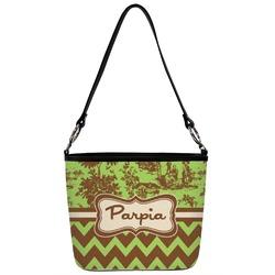 Green & Brown Toile & Chevron Bucket Bag w/ Genuine Leather Trim (Personalized)