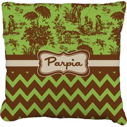 Green & Brown Toile & Chevron Burlap Throw Pillow (Personalized)